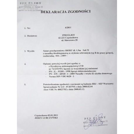 ELJOT-SZNUR PRZYLĄCZENIOWY POJEDYNCZY 1,9M